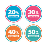 Sale discount icons. Special offer price signs. 20, 30, 40 and 50 percent off reduction symbols. Colored circle buttons. Vector vector illustration