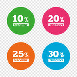 Sale discount icons. Special offer price signs. 10, 20, 25 and 30 percent off reduction symbols. Round buttons on transparent background. Vector Stock Images