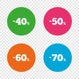 Sale discount icons. Special offer price signs. 40, 50, 60 and 70 percent off reduction symbols. Round buttons on transparent background. Vector Stock Illustration