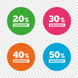 Sale discount icons. Special offer price signs. 20, 30, 40 and 50 percent off reduction symbols. Round buttons on transparent background. Vector Royalty Free Illustration