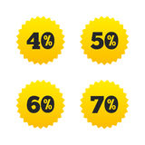 Sale discount icons. Special offer price signs. 40, 50, 60 and 70 percent off reduction symbols. Yellow stars labels with flat icons. Vector vector illustration