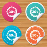 Sale discount icons. Special offer price signs. Round stickers or website banners. Sale discount icons. Special offer stamp price signs. 20, 30, 40 and 50 Stock Image