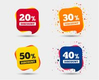 Sale discount icons. Special offer price signs. 20, 30, 40 and 50 percent off reduction symbols. Speech bubbles or chat symbols. Colored elements. Vector Stock Illustration