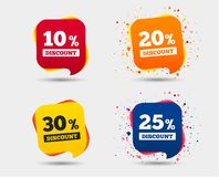 Sale discount icons. Special offer price signs. 10, 20, 25 and 30 percent off reduction symbols. Speech bubbles or chat symbols. Colored elements. Vector Stock Photo