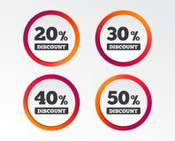 Sale discount icons. Special offer price signs. 20, 30, 40 and 50 percent off reduction symbols. Infographic design buttons. Circle templates. Vector stock illustration