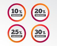 Sale discount icons. Special offer price signs. 10, 20, 25 and 30 percent off reduction symbols. Infographic design buttons. Circle templates. Vector Stock Image