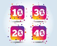Sale discount icons. Special offer price signs. 10, 20, 30 and 40 percent off reduction symbols. Colour gradient square buttons. Flat design concept. Vector stock illustration