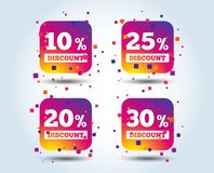 Sale discount icons. Special offer price signs. 10, 20, 25 and 30 percent off reduction symbols. Colour gradient square buttons. Flat design concept. Vector royalty free illustration