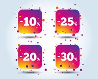 Sale discount icons. Special offer price signs. 10, 20, 25 and 30 percent off reduction symbols. Colour gradient square discount buttons. Flat design concept stock illustration