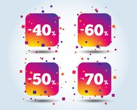 Sale discount icons. Special offer price signs. 40, 50, 60 and 70 percent off reduction symbols. Colour gradient square discount buttons. Flat design concept royalty free illustration