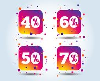Sale discount icons. Special offer price signs. 40, 50, 60 and 70 percent off reduction symbols. Colour gradient square discount buttons. Flat design concept stock illustration