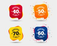 Sale discount icons. Special offer price signs. Sale discount icons. Special offer stamp price signs. 40, 50, 60 and 70 percent off reduction symbols. Speech Royalty Free Illustration