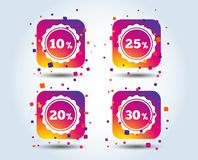 Sale discount icons. Special offer price signs. Sale discount icons. Special offer stamp price signs. 10, 20, 25 and 30 percent off reduction symbols. Colour royalty free illustration