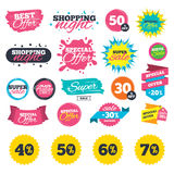Sale discount icons. Special offer price signs. Sale shopping banners. Sale discount icons. Special offer price signs. 40, 50, 60 and 70 percent off reduction vector illustration