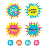 Sale discount icons. Special offer price signs. Shopping night, black friday stickers. Sale discount icons. Special offer price signs. 20, 30, 40 and 50 percent Stock Image