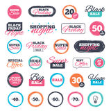 Sale discount icons. Special offer price signs. Sale shopping stickers and banners. Sale discount icons. Special offer price signs. 40, 50, 60 and 70 percent Royalty Free Stock Photo