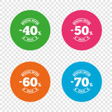 Sale discount icons. Special offer price signs. Sale discount icons. Special offer stamp price signs. 40, 50, 60 and 70 percent off reduction symbols. Round vector illustration