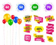 Sale discount icons. Special offer price signs. Vector. Balloons party. Sales banners. Sale discount icons. Special offer price signs. 40, 50, 60 and 70 percent royalty free illustration