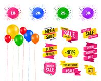 Sale discount icons. Special offer price signs. Vector. Balloons party. Sales banners. Sale discount icons. Special offer price signs. 10, 20, 25 and 30 percent royalty free illustration