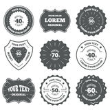 Sale discount icons. Special offer price signs. Vintage emblems, labels. Sale discount icons. Special offer stamp price signs. 40, 50, 60 and 70 percent off Royalty Free Illustration