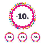 Sale discount icons. Special offer price signs. Web buttons with confetti pieces. Sale discount icons. Special offer price signs. 10, 20, 25 and 30 percent off stock illustration