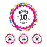 Sale discount icons. Special offer price signs. Web buttons with confetti pieces. Sale discount icons. Special offer stamp price signs. 10, 20, 25 and 30 Stock Photography