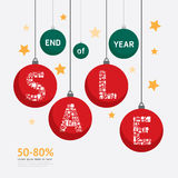 Sale Discount Icons Styled .christmas ball Advertising Tag Banne Stock Photo