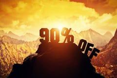 90% off writing on a mountain peak. Royalty Free Stock Photo