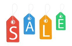Sale. Discount labels. Discount on all products. Sell-out. Vector illustration royalty free illustration