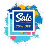 Sale discount - concept horizontal banner vector illustration. Special offer abstract layout. Buy now. Graphic design poster. Geom. Sale discount limited offer stock illustration