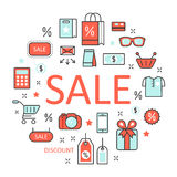 Sale Discount Line Art Thin Icons Set with Shopping Elements. Sale Discount Line Art Thin Vector Icons Set with Shopping Elements Stock Photography