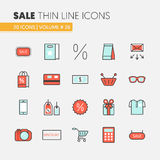 Sale Discount Linear Thin Line Icons Set with Shopping Elements. Sale Discount Linear Thin Line Vector Icons Set with Shopping Elements Royalty Free Illustration