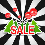 Sale, discount, new year, Christmas tree, vector Royalty Free Stock Images