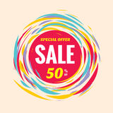 Sale discount 50% off creative vector banner. Special offer abstract circle layout and red, yellow and blue colors. Brush hand. Royalty Free Stock Images