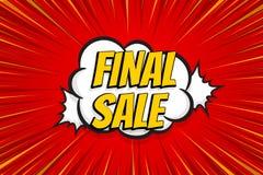 Seasonal sale comic text pop art sticker. Sale discount offer hand drawn speech bubble. Template comics speech balloon halftone dot background. Pop art style Royalty Free Stock Photography