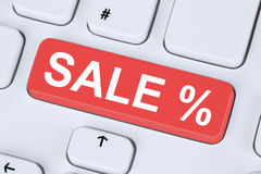 Sale discount online shopping e-commerce internet shop concept. On computer keyboard Stock Photography