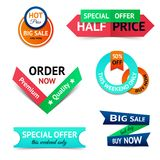 Sale discount origami banners Stock Photos