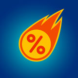 Sale discount percent off special shopping comet fire tail flying down orange sticker mark. Special shopping sale discount percent comet offer sticker. Graphic Royalty Free Stock Photo