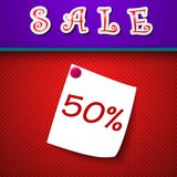 Sale. Discount 50 percent. Sign. Vector. Illustration Royalty Free Stock Images