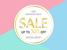 Sale, a discount of 50 percent, only this weekend. Template for flyer, banner for website. Vector illustration. Sale, a discount of 50 percent, only this royalty free illustration