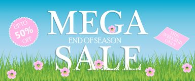 Sale, a discount of 50 percent, only this weekend. Template for flyer, banner for website. Vector illustration. Banner. Sale, a discount of 50 percent, only royalty free illustration