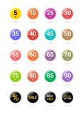 Sale discount circle icons. Special offer price signs. From 5 to 90 percent off reduction symbols. Colored vector flat badges. Sale and discount price badge royalty free illustration