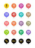 Sale discount icons. Special offer price signs. From 5 to 90 percent off reduction symbols. Colored vector flat elements badges. Sale and discount price badge stock illustration
