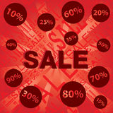 Sale with Discount price on red and orange background. Stock Photo
