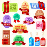 Sale and discount price tags, ribbon banners with promo text. Promotion badges vector set. Best price and exclusive product, special offer label illustration vector illustration