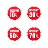 Sale. Discount price tags. Spherical circle sticker label discou. Nt 10% 30% 50% 70%. on white background Stock Photography