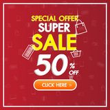 Sale Discount red banner background up to 50% off technology concept for the online shopping store, shop, promotional leaflet. royalty free illustration