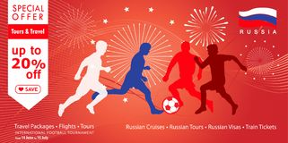 2018 world cup soccer sales Russia banner. Welcome to Russia, 2018 Soccer world cup competition, sale discount poster, gold logo, soccer players silhouette Stock Image