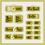 Sale and discount set of vintage labels. Best price, special offer.  Royalty Free Stock Photos