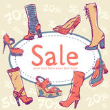 Sale discount shoes card Stock Images